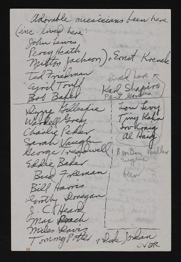 thumbnail image for List of jazz musicians who visited Gertrude Abercrombie's home