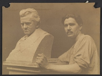 thumbnail image for Robert Aitken with his portrait bust of David Warfield