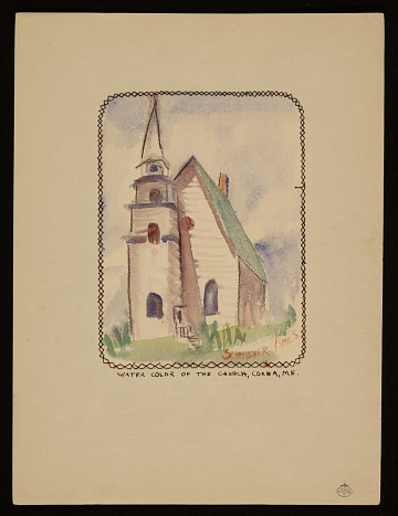 thumbnail image for Water color of the church, Corea, ME.