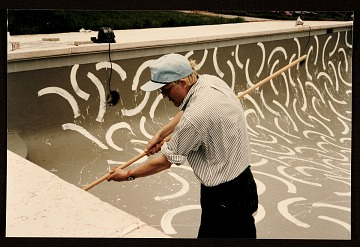 thumbnail image for David Hockney painting the interior of André Emmerich's pool