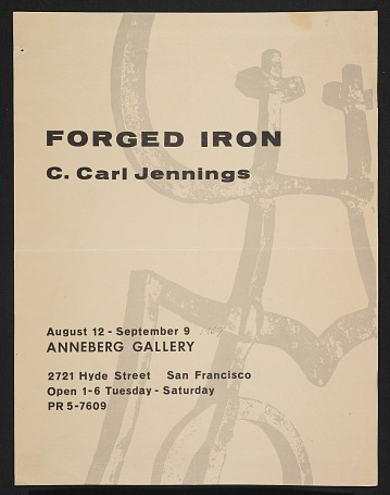 thumbnail image for Anneberg Gallery poster for their C. Carl Jennings exhibit <em>Forged Iron</em>
