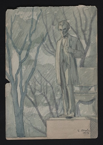 thumbnail image for Watercolor sketch of sculpture of Abraham Lincoln in Lincoln Park, Chicago