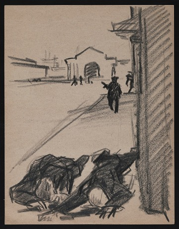 thumbnail image for Sketch of two bodies at harbor