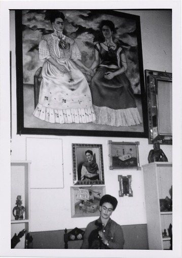 thumbnail image for Frida Kahlo in her studio with <em>The Two Fridas</em>, Coyoacán, Mexico