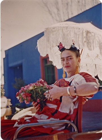 thumbnail image for Portrait of Frida Kahlo on the patio of the Blue House, Coyoacán, Mexico