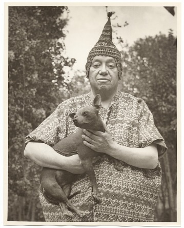 thumbnail image for Diego Rivera holding a dog