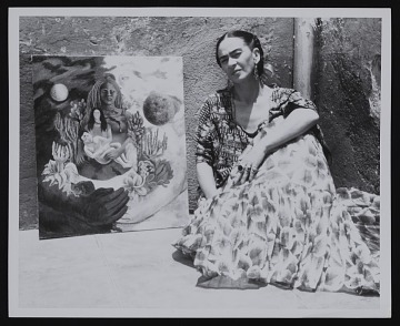 thumbnail image for Photograph of Frida Kahlo with <em>The Love Embrace of the Universe, the Earth (Mexico), Myself, Diego, and Señor Xolotl</em>