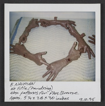 thumbnail image for Polaroid of wax pattern for Bruce Nauman bronze sculpture