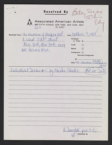thumbnail image for Associated American Artists receipt form for <em>Industrial series #1</em> by Charles Sheeler