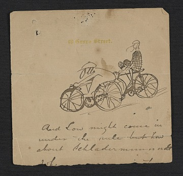 thumbnail image for Sketch of Otto Bacher and Robert Blum on bicycles