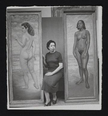 thumbnail image for Macena Barton with two of her paintings