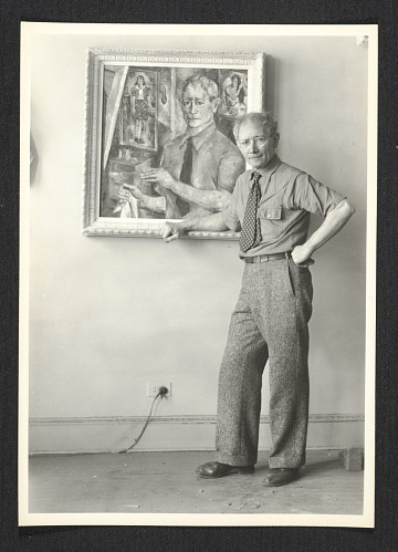 thumbnail image for A. S. Baylinson with self-portrait painting