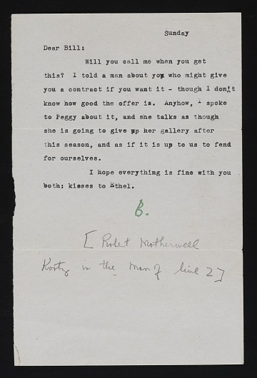 thumbnail image for Robert Motherwell letter to William Baziotes with illustrated envelope