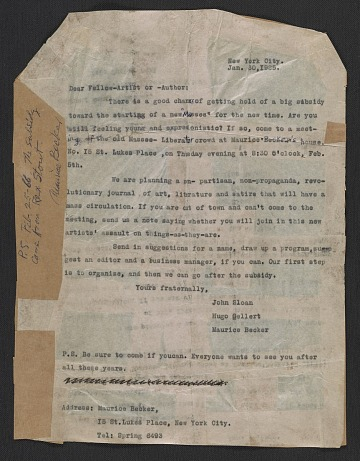 thumbnail image for John Sloan, Hugo Gellert, and Maurice Becker letter to fellow artists and authors