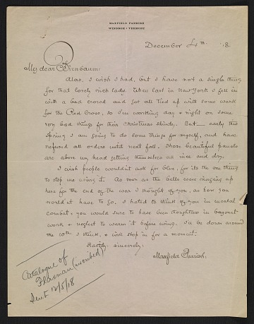 thumbnail image for Maxfield Parrish letter to Martin Birnbaum