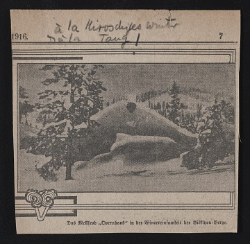 thumbnail image for Newspaper clipping of snow covered Siskiyou mountains