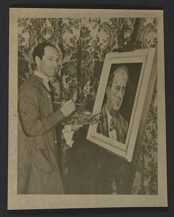 thumbnail image for George Gershwin painting portrait of Arnold Schoenberg