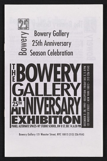 thumbnail image for Bowery Gallery records, 1969-2008