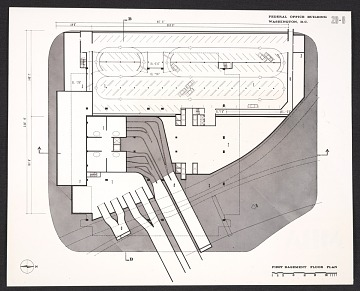 thumbnail image for Architectural drawing of the first basement floor plan of the Department of Health, Education, and Welfare Headquarters, Hubert H. Humphrey Building