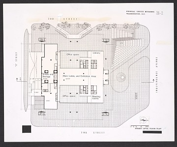 thumbnail image for Architectural drawing of the street level floor plan of the Department of Health, Education, and Welfare Headquarters, Hubert H. Humphrey Building