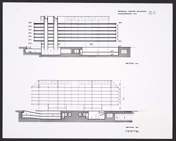 thumbnail image for Architectural drawing of section AA and section BB for the Air Rights Building at the Department of Health, Education, and Welfare Headquarters, Hubert H. Humphrey Building