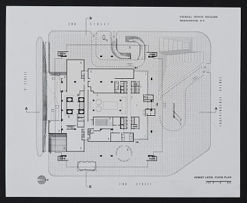 thumbnail image for Street level floor plan of the Department of Health, Education, and Welfare (HEW) Headquarters Building, Hubert H. Humphrey Building, Washington, D.C.