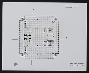 thumbnail image for Typical office floor plan of the Department of Health, Education, and Welfare (HEW) Headquarters Building, Hubert H. Humphrey Building, Washington, D.C.