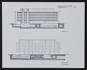 thumbnail image for Section AA and BB of the Department of Health, Education, and Welfare (HEW) Headquarters Building, Hubert H. Humphrey Building, Washington, D.C.