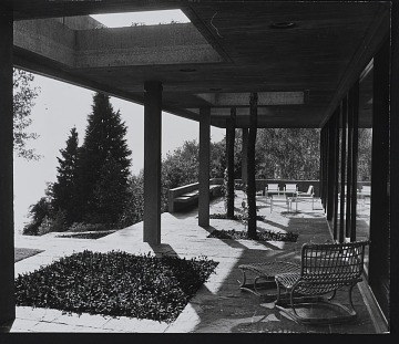 thumbnail image for Photograph from first floor of covered terrace looking West, Koerfer House, Moscia, Switzerland