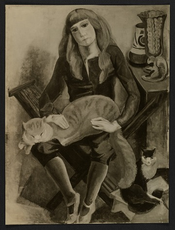 thumbnail image for Reproduction of Marguerite Zorach's painting <em>Child with cat</em>