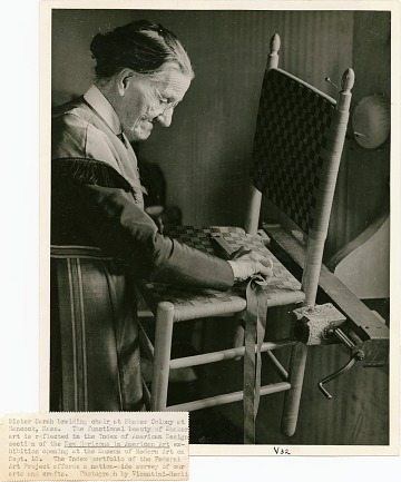 thumbnail image for Sister Sarah braiding a chair