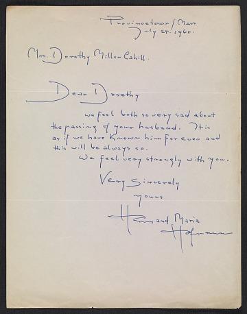 thumbnail image for Hans Hofmann letter to Dorothy Canning Miller