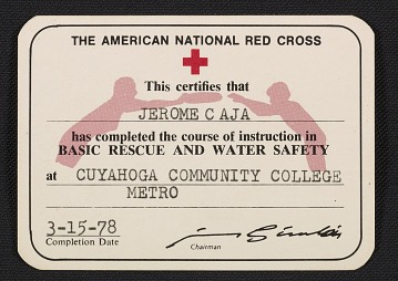 thumbnail image for American Red Cross certification of Basic Rescue and Water Safety for Jerome Caja
