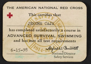 thumbnail image for American Red Cross certification of Advanced Survival Swimming for Jerome Caja