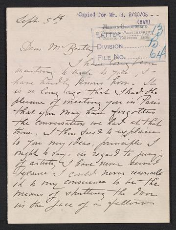 thumbnail image for Mary Cassatt letter to John Wesley Beatty