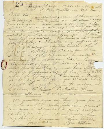 thumbnail image for George Catlin, Red River, N.M. letter to D. S. Gregory