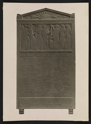 thumbnail image for Tablet sculpted by Gaetano Cecere for the National League of Women Voters
