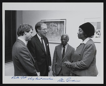 thumbnail image for Ruth Jett, Ernest Crichlow, and Stan Lundine at exhibition opening reception
