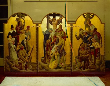 thumbnail image for The <em>Behold He Shall Neither Slumber Nor Sleep</em> triptych by Nina Barr Wheeler created as a portable altarpiece for the US armed forces