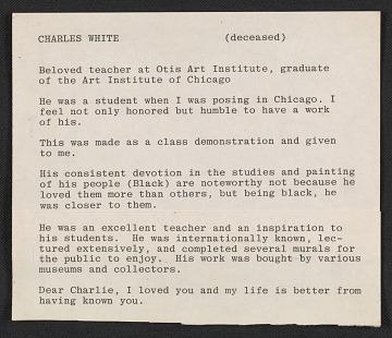 thumbnail image for Cleo Dorman notes on Charles White