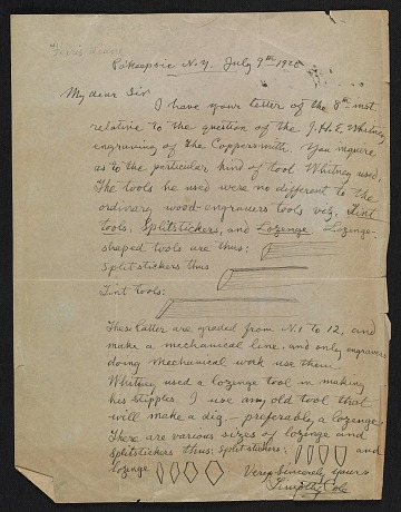 thumbnail image for Timothy Cole letter to unidentified recipient