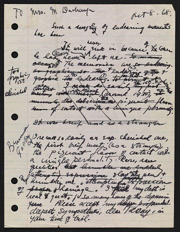 thumbnail image for Draft of condolence letter from Joseph Cornell to Teeny Duchamp