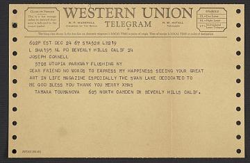 thumbnail image for Tamara Toumanova, Beverly Hills, Calif. telegram to Joseph Cornell, Flushing, N.Y.