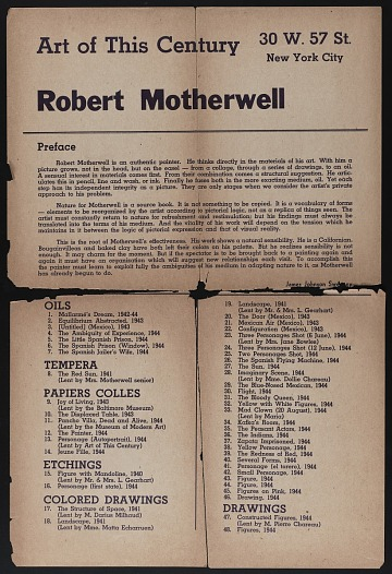 thumbnail image for Art of this century gallery catalog for Robert Motherwell exhibition