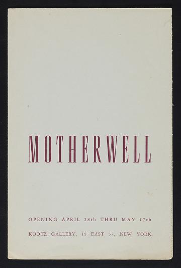 thumbnail image for Kootz Gallery catalog for <em>Motherwell</em> exhibit