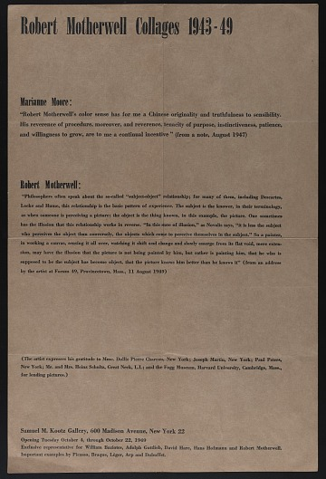 thumbnail image for Kootz Gallery poster advertising <em>Robert Motherwell collages 1943-49</em> exhibit