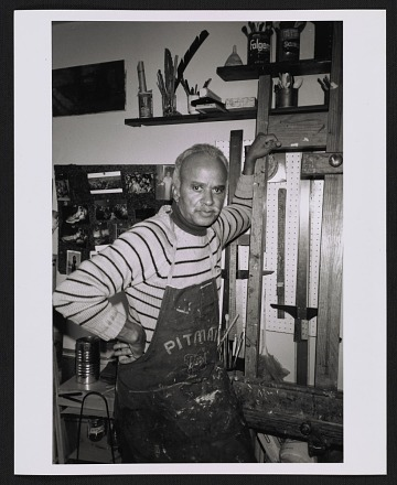 thumbnail image for Eldzier Cortor in his studio