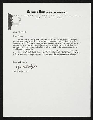 thumbnail image for Guerrilla Girls letter to Arthur Coleman Danto