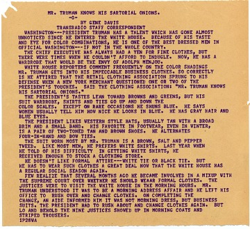 thumbnail image for Gene Davis' typescript on Harry S. Truman's sartorial distinction