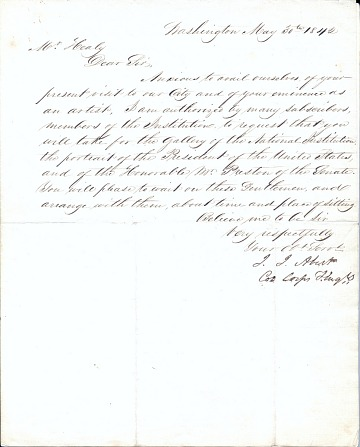 thumbnail image for John James Abert letter to G. P. A. (George Peter Alexander) Healy